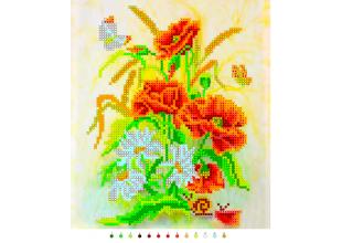 """Б449 """"Цветы"""" Набор на ткани для вышивания бисером"""