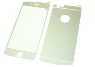 Стекло защитное цветное 2-х стор. IPhone 6 plus/6s plus (Серебро)