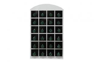 Сережки со стразами Шамбала, (гвоздики/Ø7мм/Темно-Зеленый)