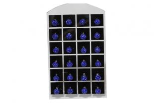 Сережки со стразами Шамбала, (гвоздики/Ø7мм/Синий)