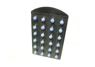 Сережки со стразами Шамбала, (гвоздики/Ø7мм/Голубой)