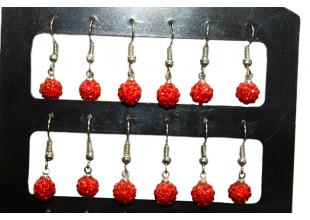 Сережки со стразами Шамбала (2шт/Ø7мм/Красный)