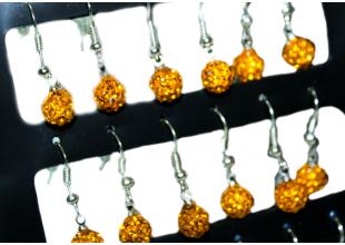Сережки со стразами Шамбала (2шт/Ø7мм/Оранжевый)