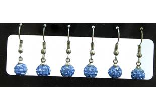 Сережки со стразами Шамбала (2шт/Ø7мм/Холодно-Голубой)