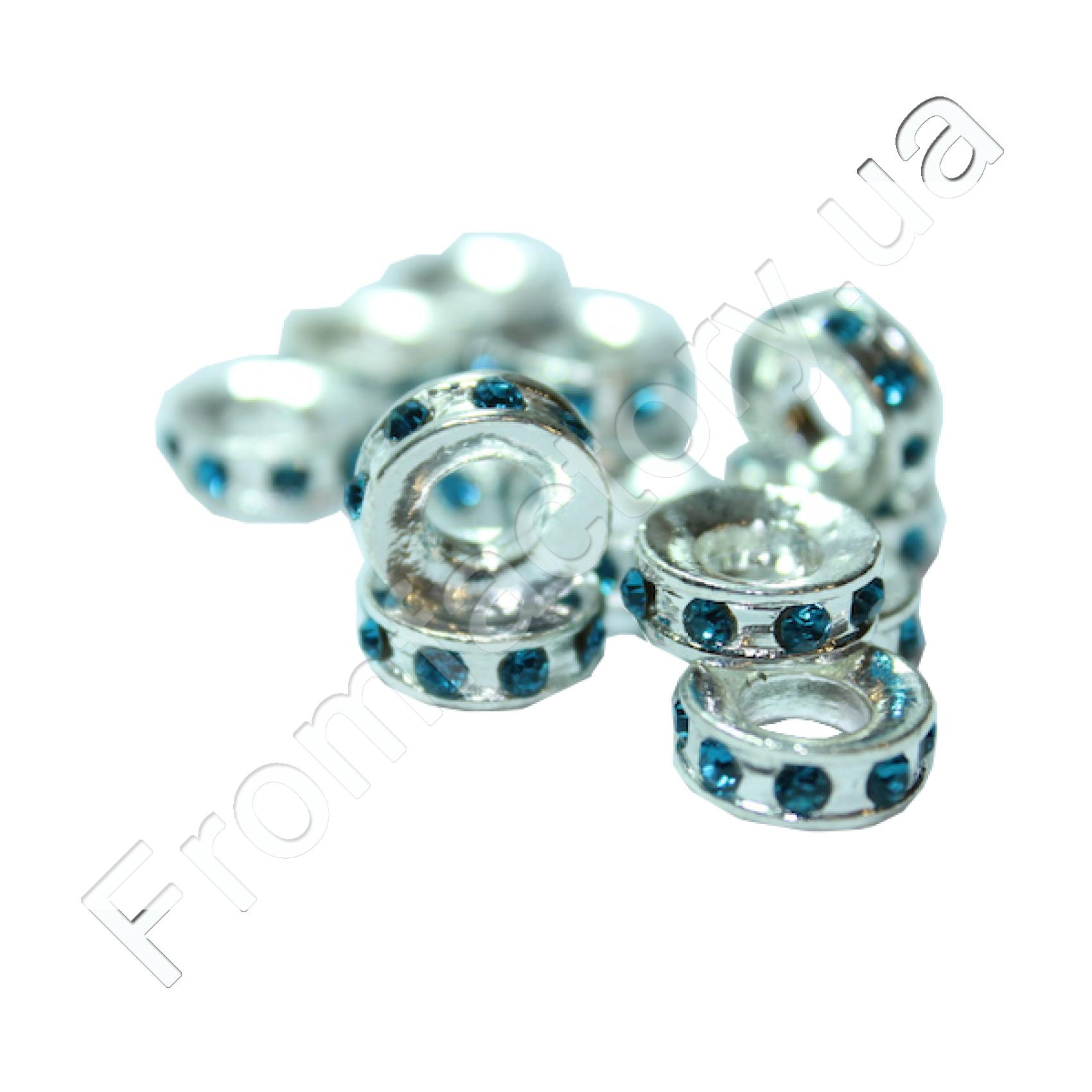 Колечки металлические со стразами (разные цвета) Ø12мм