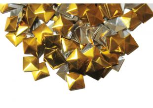 Пайетки металлические золотистые на термооснове (квадрат) 100шт/10мм
