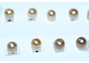 Сережки с натуральным жемчугом (Ø6-8мм/Бежевый)