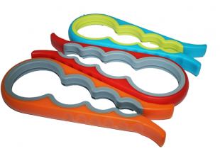 Открывалка для банок пластиковая с прорезиненной ручкой 4 в 1