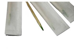 Зубочистки деревянные односторонние мятные в индивид. упаковке и пакете (100шт.)