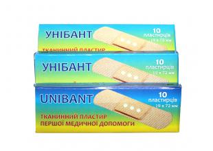 Пластырь бактерицидный UNIBANT (10шт/19х72мм)