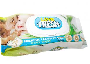 Салфетки влажные Love Fresh (детские) с колпаком 72шт