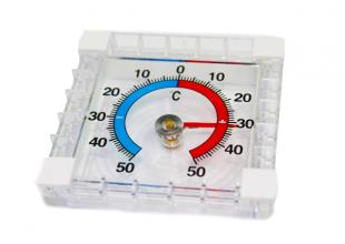 Термометр уличный механический (оконный на липучках) 7х7см