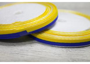 Лента атласная 2-х цветная (желто-синяя) 0.6см/20м