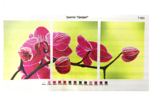 """Схема для вышивания бисером на габардине триптих 40х30см """"Орхидея"""""""