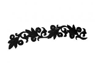 """Аппликация для одежды черная """"Лоза"""" на термооснове 21х3.5см"""