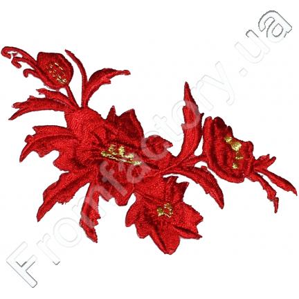 """Аппликация для одежды красная """"Цветы"""" на термооснове 13см"""