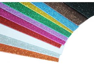 Фоамиран блестящий/глиттерный на клейкой основе (комплект из 5 цветов) 2мм/20х30см