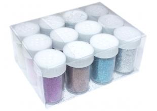 Глиттер/Блестки 15 грамм (упаковка ассорти 12 баночек/9 цветов)
