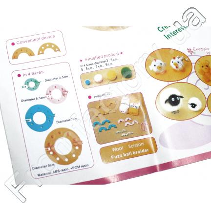 Заготовка для плетения помпонов (8 предметов/4 размера)