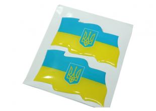 Наклейка рельефная 2шт (Flag UKRAINE) 8х4см
