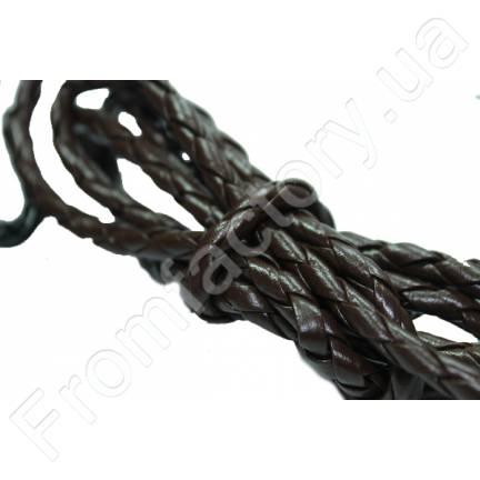 Шнур/Ремень для бижутерии  из кож.зама. плетеный (Коричневый/1м/4мм)