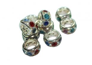 Колечки металлические с разноцветными камнями 28х9мм