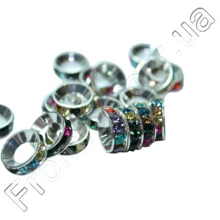 Колечки латунные со стразами (разные цвета) 19мм
