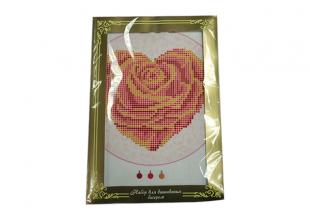 """Б582 """"Сердце Роза"""" Набор на ткани для вышивания бисером"""