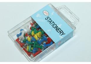 Кнопки канцелярские (цветные,коробка) 50шт.
