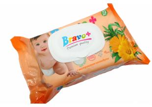 Салфетки влажные Bravo (детские) с колпаком 72шт